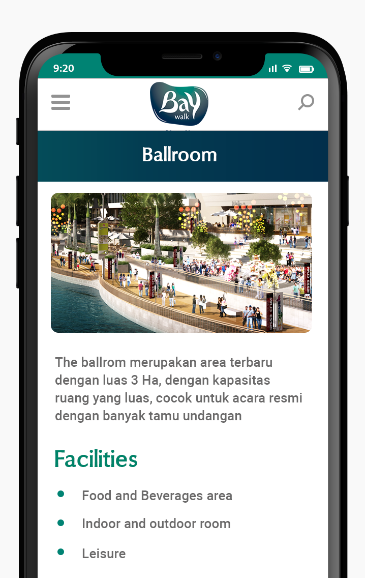 Komunigrafik ui-ux web design, web development, mobile development - Project Showcase and Portfolio Responsive Mobile For Baywalk Mall Mobile Apps page ballrom baywalk mall, Jakarta, Indonesia