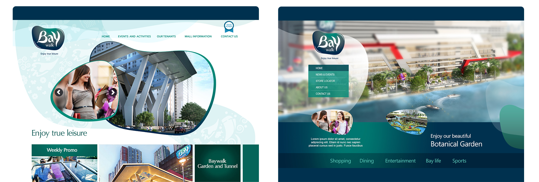 Portfolio design inspiration website, mobile, responsive komunigrafik 2020 for client baywalk mall