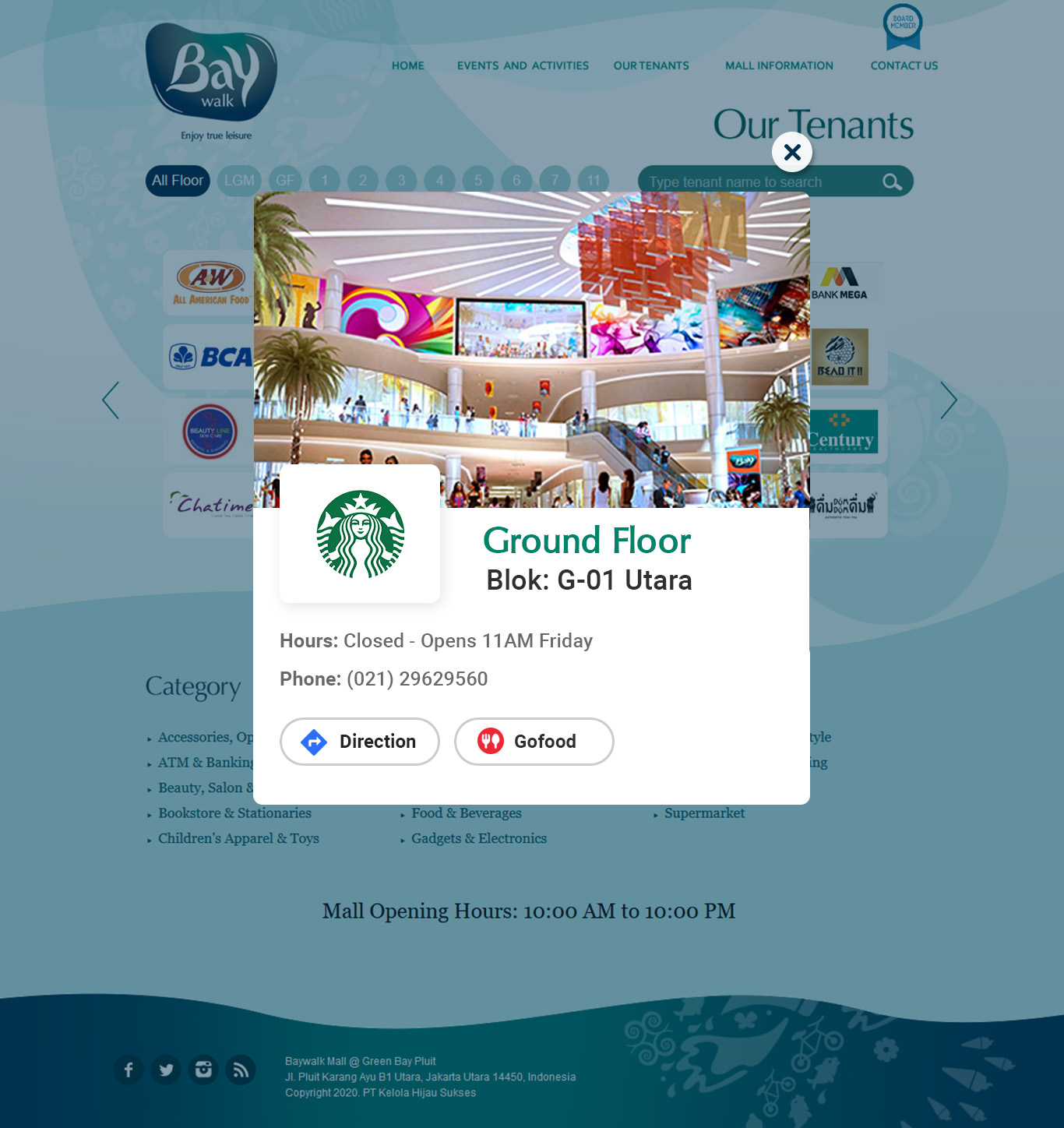 Komunigrafik ui-ux, web design and development Indonesia - Page Our Tenants Baywalk mall, Project Showcase and Portfolio Responsive Mobile, Mobile Apps, For Baywalk Mall Jakarta, Indonesia
