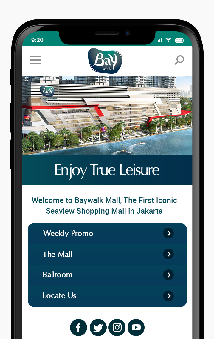 Komunigrafik ui-ux, web design and development Indonesia - Project Showcase and Portfolio Responsive Mobile For Baywalk Mall Mobile Apps