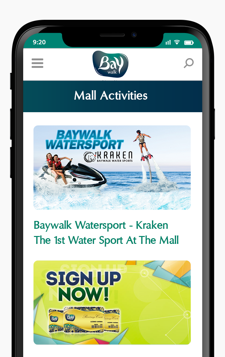Komunigrafik ui-ux web design and development Indonesia - Project Showcase and Portfolio Responsive Mobile page Baywalk Mall Activities and events For Baywalk Mall Jakarta, Indonesia