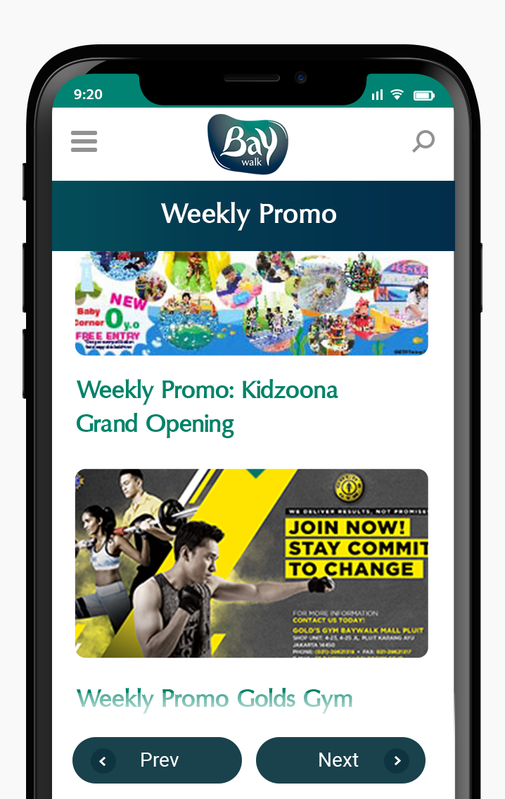 Komunigrafik ui-ux web design and development Indonesia - Project Showcase and Portfolio Responsive Mobile page Baywalk Weekly Promo at Baywalk Mall Jakarta, Indonesia