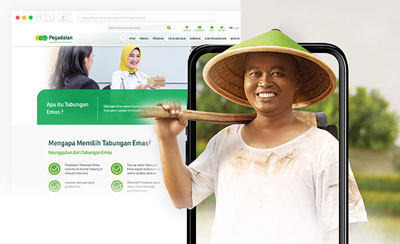 Komunigrafik portfolio Design project showcase and case study for Pegadaian - Profesional Web Designer and web developer Indonesia