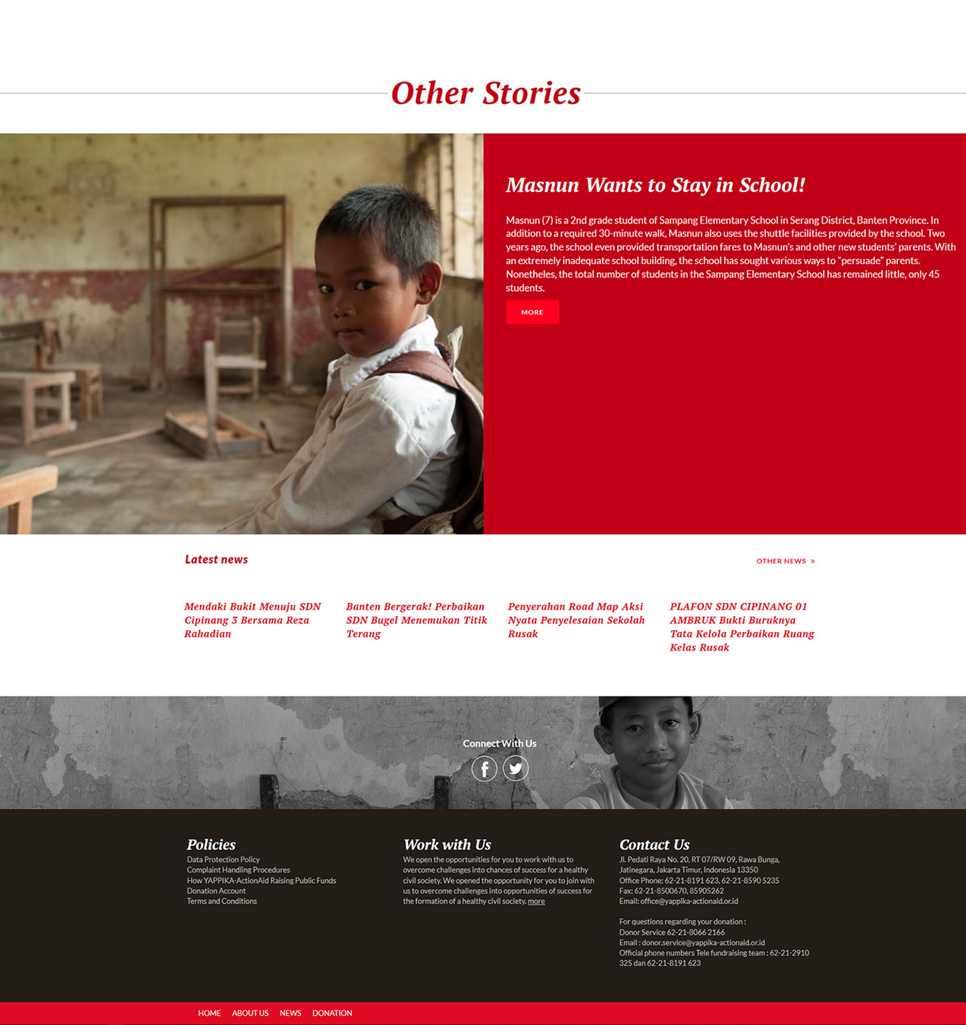 Komunigrafik project portfolio inspiration template web design and web developer, Yappika ActionAid Organization, web donation and campaign crowd funding, and charity, foundation, Jakarta Selatan, Indonesia