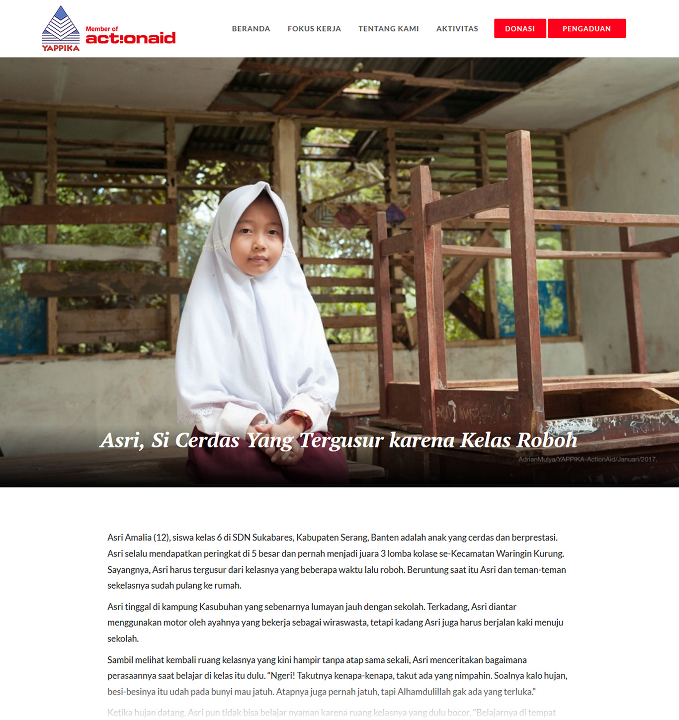 Komunigrafik project portfolio inspiration template web design and web developer, Yappika ActionAid Organization, web donation and campaign crowd funding, and charity, foundation, Jakarta Utara, Indonesia