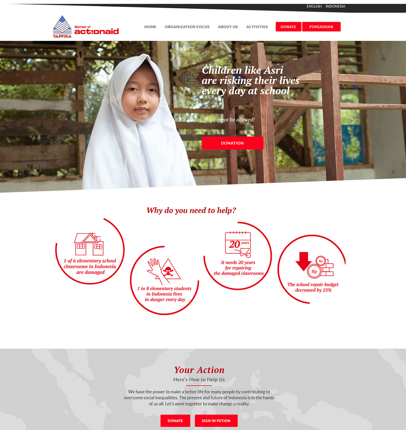 Komunigrafik project portfolio inspiration template web design and web developer, Yappika ActionAid Organization, web donation and campaign crowd funding, and charity, foundation, Jakarta Timur, Indonesia
