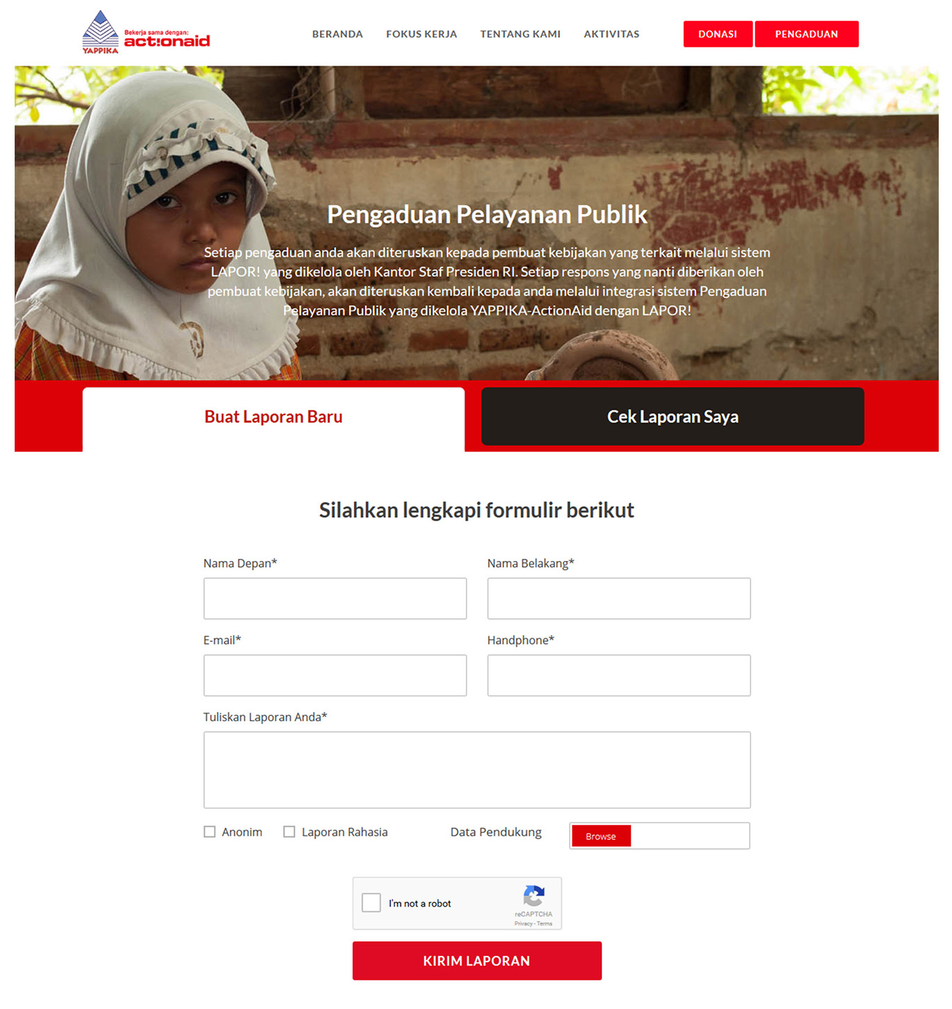 Komunigrafik project portfolio inspiration template bootstrap 4 web design and web developer, Yappika ActionAid Organization, web donation and campaign crowd funding, and charity, foundation, Jakarta Pusat, Indonesia