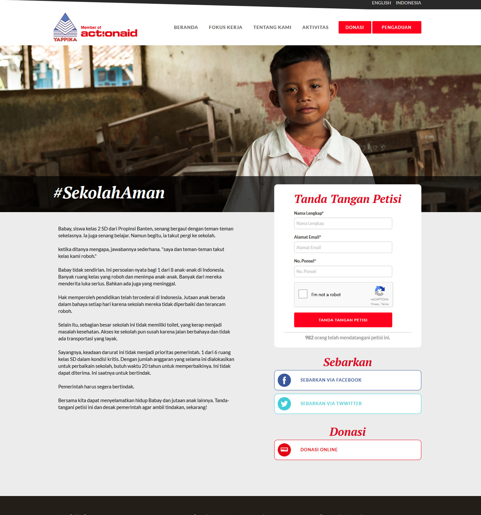 Komunigrafik project portfolio inspiration template web design and web developer, Yappika ActionAid Organization, web donation and campaign crowd funding, and charity, foundation, Jakarta Pusat, Indonesia